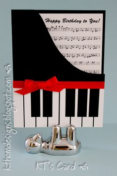 KT Hom Designs. Piano birthday card