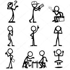 Jeu de chiffres de bâton, des gens réfléchis, des pensées. illustration vectorielle sur fond blanc