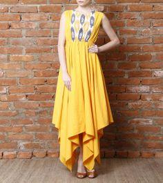 Yellow Asymmetric Cotton Dress with Ikat Yoke