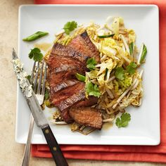 Add a cabbage and bean sprouts salad to Lemon Butter Flank Steak to make a complete meal. #myplate #protein