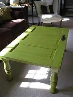 repurpose an old wooden door into a table...I LOVE the color too! Repurposed Doors, Reclaimed Doors, Wooden Doors, Repurposed Items, Recycled Door, Refurbished Door, Metal Doors, Coffe Table, Ideas For Coffee Tables