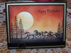 "By heartsong47 at Splitcoaststampers. Mask, sponge, stamp. She used ""Plant Hope"" (Stampin' Up) and running horses stamp (Inkadinkado). Could also use the 2 horse stamps in Local King's ""Wild, Wild West"" set or the PSX stamp ""Running Horses."""