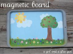 Road trips with kids are no easy task...here's a great idea. Paint a scene on an old cookie sheet and use old/word/picture magnets! Hello! What a great idea. This site has lots more!