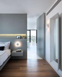 350 m² apartment in the Blue Project, Tel Aviv, 2016 - Michal Han Interior Design Modern Interior Design, Interior Architecture, Modern Interiors, Hotel Room Design, Mid Century Modern Decor, Contemporary Apartment, Bedroom Layouts, Modern Bedroom, Kitchen Industrial