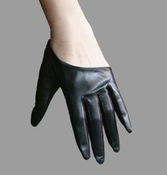 Unisex Genuine Lambskin Leather Cut Punk Rocker Biker Gloves