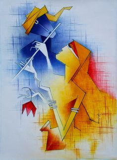 Buy Divine Love artwork number a famous painting by an Indian Artist Amar Singha. Indian Art Ideas offer contemporary and modern art at reasonable price. Poster Color Painting, Love Painting, Painting & Drawing, Painting Lessons, Watercolor Painting, African Art Paintings, Modern Art Paintings, Krishna Art, Krishna Lila