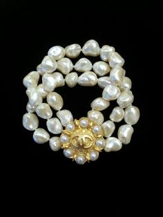 Wow! Chanel Button Bracelet  Vintage Baroque Pearls ArmCandyDesignsbyZ on Etsy