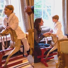 Prince George and his rocking horse, given to him when he was born by President and Michele Obama #princegeorge