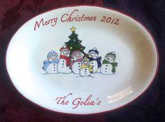 CHRISTMAS PLATTER  Personalized Platter  by BrushStrokePlates, $78.00