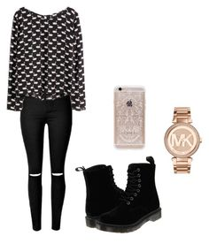 """Untitled #142"" by aandreead ❤ liked on Polyvore featuring Dr. Martens, Rifle Paper Co and Michael Kors"
