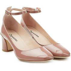 Repetto Patent Leather Mary Jane Pumps ($419) ❤ liked on Polyvore featuring shoes, pumps, pink, pink patent leather pumps, mary jane pumps, patent leather mary jane pump, patent mary jane pumps and maryjane pumps