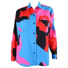 1980's Stephen Sprouse Blouse with Warhol Camouflage Print | From a collection of rare vintage shirts at https://www.1stdibs.com/fashion/clothing/shirts/