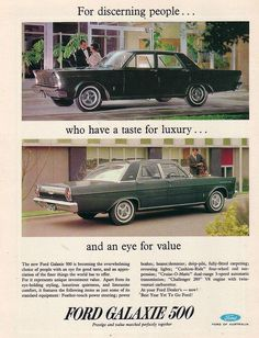 1965 Ford Galaxie 500 Ad by Five Starr Photos ( Aussiefordadverts), via Flickr    1965 Ford Galaxie 500 Ad  Ford Galaxie 500 which were Sold here in Australia were a Top Seller for Ford Australia with its 390 ci Big Block V8 as a Option.  Magazine Advert.