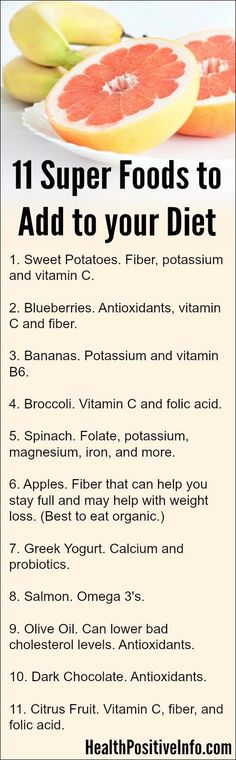 11 Super Foods to Add to your Diet ~ http://healthpositiveinfo.com/super-foods.html