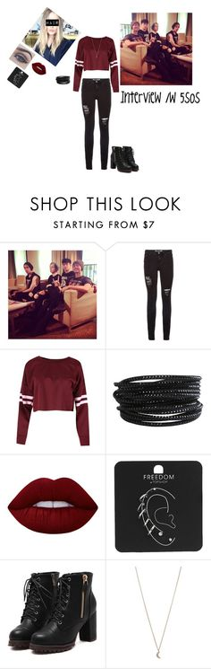 """""""Interview with 5sos"""" by weber-350 on Polyvore featuring Pieces, Bellezza, Lime Crime, Topshop, Minor Obsessions, black, 5sos, 5secondsofsummer and interwiev"""