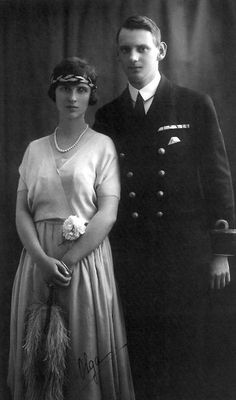 Denmark Crown Prince Frederik of Denmark and Pss Olga of Greece and Denmark. He married 1935 Pss Ingrid of Sweden; she married Pr Paul of Yugoslavia. Greek Royalty, Danish Royalty, Greek Royal Family, Danish Royal Family, Royal Tiaras, Royal Jewels, Cousins, Denmark History, Prince Paul