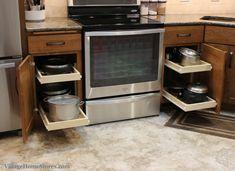 Sliding shelves in kitchen. | VillageHomeStores.com