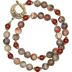 Rain Forest Jasper and Carnelian Necklace and Earrings Set