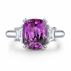 Omi Gems: Pink Sapphire & Diamond 3-Stone Ring