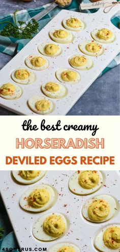 Creamy horseradish deviled eggs are the perfect way to add tons of extra flavor to the classic party appetizer. With a little more kick thanks to the zesty combination of ingredients, these stuffed hardboiled eggs will be a hit anytime you entertain. #deviledeggs #eggrecipe