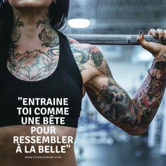 """""""Entraîne toi comme une bête pour ressembler à la belle""""  Aime et partage buff.ly/2wH67kb  #sport #training #nopainnogain #fitness #crossfit #musculation #motivation #remiseenforme #sante #rentree #volonté #fitracesport #objectif #entrainement #noexcuse #motivation Crossfit, Motivation, Comme, Fitness, Words, Inspiration, Muscle Building, Self Confidence, Exercise"""