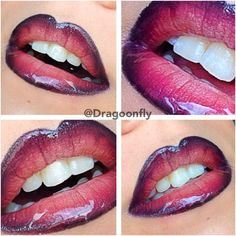 """Purple ombré.  """"Outline the lips with black eyeliner pen.  Take a dark purple lipstick, then a bronze-ish color and at last, take a pink/gold lipstick.  """"Smooch"""" the lips and on with some gloss.  :) """""""