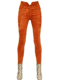 HIGH WAISTED STRETCH SUEDE PANTS