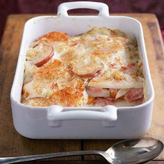 This casserole is hearty and delectable. Layers of potato and ham with a light, creamy sauce come together flawlessly. With only 120 calories per serving, this dish is an easy choice.