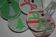 Christmas Gift Tags, Set of 16, Glittered Gift Tags by MomsCrazyCraftroom on Etsy