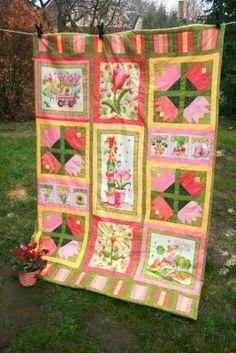 Szilvi foltvarró blogja: Tulipános kislány tutorial Quilts, Blanket, Blog, Scrappy Quilts, Quilt Sets, Blogging, Blankets, Log Cabin Quilts, Cover
