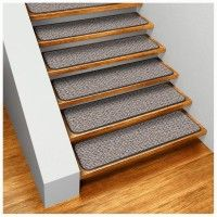 Best No Slip Treads For Stairs Ideas : Straight Stair Design With Brown  Wooden Treads And