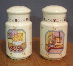 Cat Birdcage Salt & Pepper Shakers Set Tulips Country Windows Japan  #CountryWindows