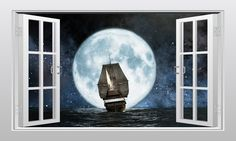 Pirate ship and moon 3D Window Scape Graphic Art Mural Wall Sticker