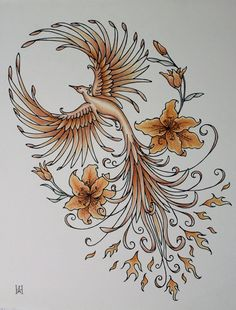 Phoenix Rising Tiger Lily Orange Copper by jennifermckayhiggins