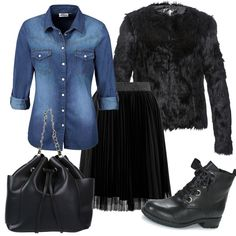 Camicia di jeans Jean Outfits, Fall Outfits, Casual Outfits, Autumn Winter Fashion, Spring Fashion, Denim Outfit, Wardrobes, Pleated Skirt, Jeans