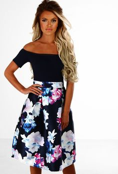 Race Day Ready Navy Multi Floral Bardot Skater Dress