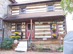 Log Cabin Entrance  1812 Stone Home  Downingtown, Pennsylvania
