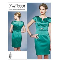 Vogue 1271. Use this bodice + my knee-length fit & flare skirt pattern.  Have fabric (silk taffeta from C&M)