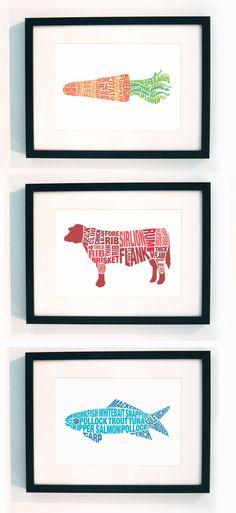 typographic food prints