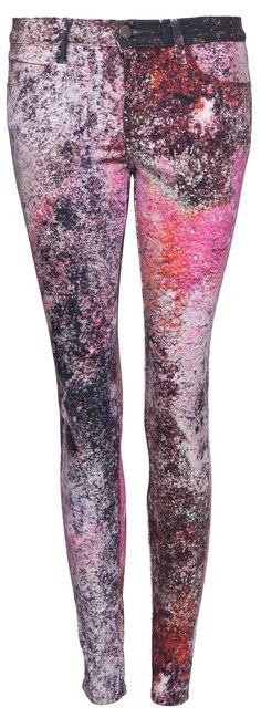 Printed Jeans: Stylishe Jeans in Pink, Lila, Schwarz von J Brand.