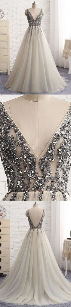 Elegant A-line Sequins Top V-neck Tulle Prom Dress