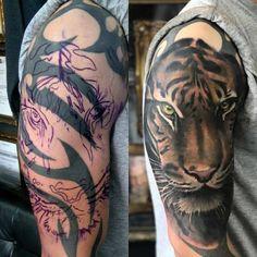 Tiger cover up tattoo by Seb! Limited av… Tiger cover up tattoo by Seb! Limited availability at Revival Tattoo Studio. Tribal Tattoo Cover Up, Best Cover Up Tattoos, Black Tattoo Cover Up, Tribal Sleeve Tattoos, Cover Tattoo, Tattoo Ink, Chest Tattoo, Simple Tattoos For Guys, Half Sleeve Tattoos For Guys