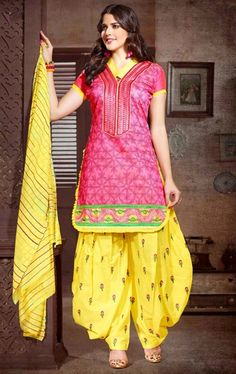 Picture of Ravishing Old Rose Pink and Yellow Patiala Suit