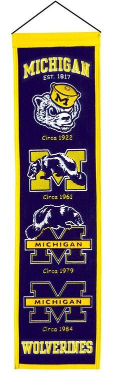 "Michigan Wolverines Wool Heritage Banner - 8""x32"""