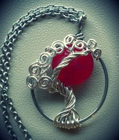 Tree of Life Blood Moon (Ruby) by Vixen's Natural Jewelry (Etsy) Wire Wrapped Jewelry, Wire Jewelry, Wedding Jewelry, Beaded Jewelry, Handmade Jewelry, Silver Jewelry, Jewlery, Tree Of Life Jewelry, Tree Of Life Necklace