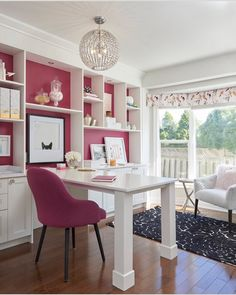 Replace fuschia with a neutral color Office Paint, Study Office, Kids Office, Home Office Space, Office Workspace, Home Office Design, Home Office Decor, Home Decor, Sunroom Office