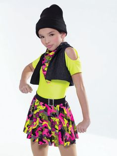 NEW! 2017 Collection Hip Hop Costumes: Spandex leotard is fully-lined in front with keyhole shoulder cutouts and attached spandex waistband with faux buckle. Attached skirt is a layer of spandex over attached shorts with extended bike-shorts leg line. Separate stretch denim vest is fully-lined.  Includes hat, kerchief, hanger and garment bag.