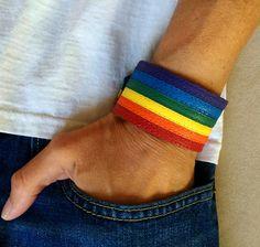 Gay pride, lgbt, gay pride bracelet, rainbow bracelets, lesbian, LGBTQ, gay pride leather bracelet, rainbow leather cuff, gay, rainbow cuffs by ChristyKeysCreations on Etsy