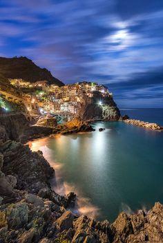 ~~Manarola Moon ~ Cinque Terre, Italy by Danny Xeero~~ travel