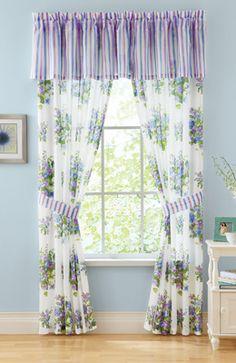 Floral Stripe Violet Curtain Collection